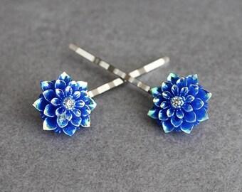 Navy Blue Hair Pins, Navy Blue Bobby Pins, Flower Hair Pins, Dark Blue Bobby Pins, Blue Flower Bobby Pins, Bridal Hair Pin, Floral Hair Pins