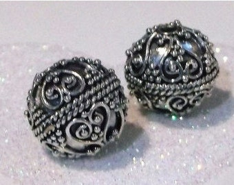 20% OFF SALE Bali Sterling Silver 10.5mm Ornate Focal Bead #1901 - (1)