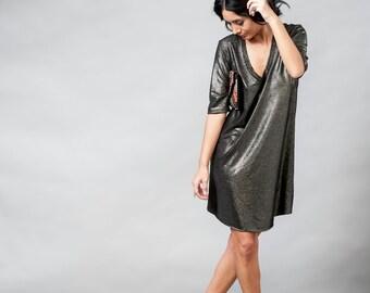 Bronze Mini Dress / Casual Short Dress / Elbow Sleeves Dress / Women Clothing / V Neck Dress / Metalic Shiny Dress / Women Cltohing - Mayo V