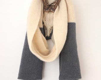 Luxurious Knitted Shetland Wool Two Tone Scarf - Small Length