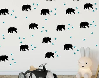 Bear Wall Decals - Bear and Triangle Decal - Bear Home Decor Wall Sticker - Woodland Vinyl Wall Stickers - Nursery Decals - Bear Theme Room