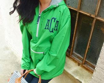 Monogrammed quarter zip pullover lined preepy green jacket