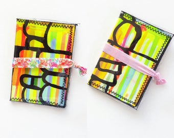 Hand Painted Passport Wallet // Card Case // Vinyl Wallet // Art Gifts // Women's Cover // Business Card Holder // Vegan Wallet