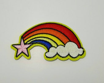 Star Rainbow retro iron on patch applique