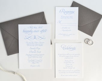 INVITATION SAMPLE. Happily Ever After Wedding Invitation Set. Light Blue and Shadow Invitation. Fairy Tale Wedding. Fairy Tale Invitation.