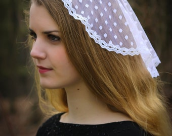 Evintage Veils~ Princess Style Simple White Traditional Catholic  Lace  Mantilla Chapel Veil