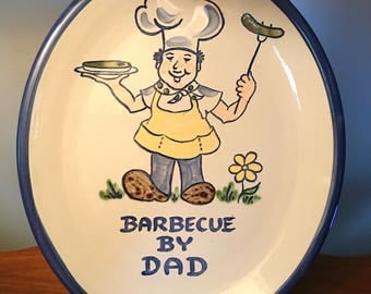 "Large and heavy ""Barbecue by Dad"" platter made by Louisville Stoneware"