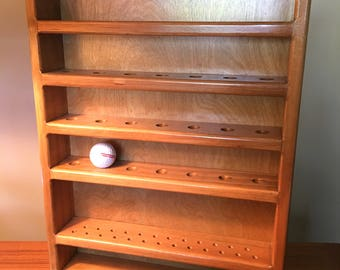 Solid wood golf display shelf for 28 balls and 25 tees ready to hang