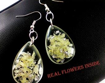 White silver wedding earrings Silver white wedding jewelry Gift for bride Pearl earrings Bridal jewelry Silver earrings Floral earrings