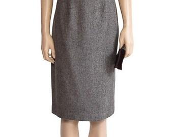Vintage Skirt, Larry Levine Brown Tweed Pencil Skirt, 1990s Skirt, Women's Skirt, Women's Clothing, knee Length Skirt, Brown Skirt, Classic