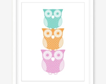 Nursery art - owl print - printable nursery wall art - nursery printable girls room decor - pastel print - girls room art - DIGITAL DOWNLOAD