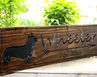 Corgi Sign-Dog Sign-Marriage Sign-Custom sign-Personalized Wood Sign-Anniversary Gift (CWD-442)