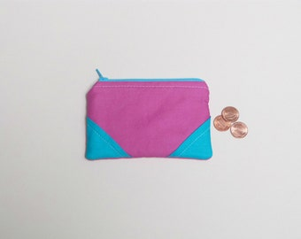 SALE - Pink and turquoise coin purse | Modern color block coin purse | Eco friendly small zipper pouch | Cute gift for girl | zero waste