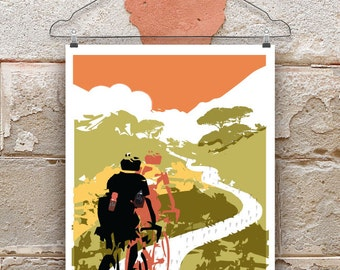 Head In The Clouds, Cycling Print, Print for Cyclists