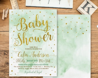 Boy Baby Shower Invitation - Baby Boy Baby Shower Invitations - Gold dots baby Shower Invite - Baby Boy shower Invitation - Blue Invite WI