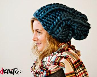 Blue LUXE LONDON hat...Vegan knit hat, hand knit, chunky knit, knit toque, knit beanie, knit hat, vegan knit, vegan gift.