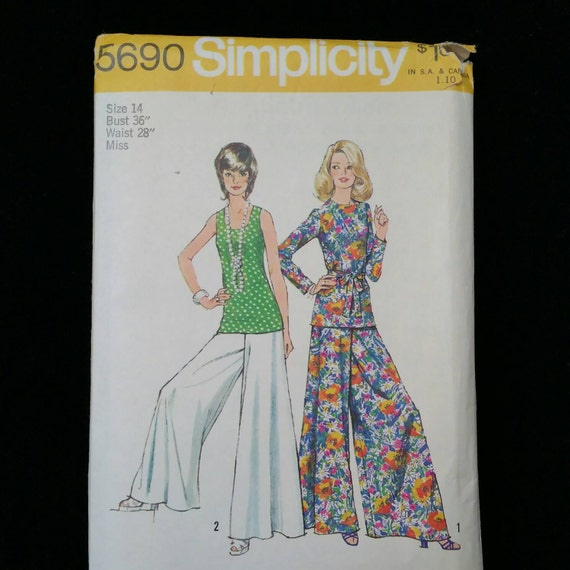 simplicity pattern size 14 1970s palazzo pants with