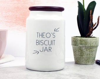 Ceramic Biscuit Jar - Personalised Cookie Jar - Small Biscuits Jar for Treats - Gifts for Him - Gifts for Her - Personalised Storage Jar