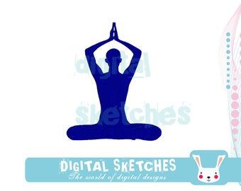 Yoga Machine Embroidery Design 3 Sizes