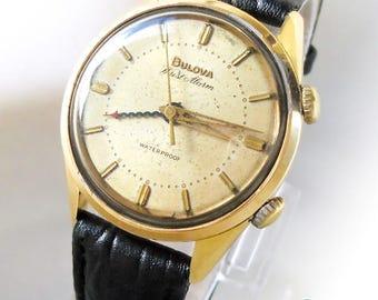 Rare Vintage BULOVA WRIST ALARM Mechanical Cricket / Buzzer Watch