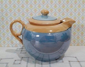 Vintage 1930s Shofu Iridescent Blue and Orange Lusterware Art Deco Tea Pot Teapot Made in Japan