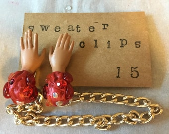 Barbie hands, Barbie jewelry, collar clips,  sweater clips, Barbie doll jewelry, goth, creepy, upcycled, chain