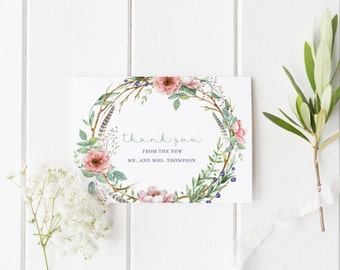 "Wedding Thank You Cards Set - Wedding Cards - Matching Wedding Kit ""Rebecca"" - Thank You Note Set Packs - Floral Thank You Cards - Rebecca"