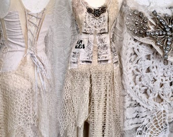 Boho wedding dress with text on , Vintage inspired wedding dress ,Alternative wedding, Vintage wedding gowns, Fairy dresses,rawrags