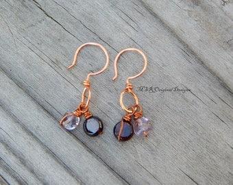 Copper earrings, gemstone earrings, unique earrings, wire wrapped, garnet earrings, dainty earrings, simple earrings, boho earrings, copper