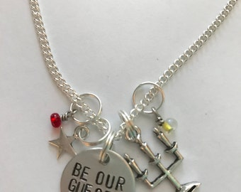 "Disney Beauty and the Beast Inspired Hand-Stamped Necklace - ""Be Our Guest"""