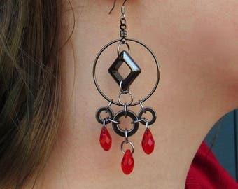 Geometric Hematite Earrings