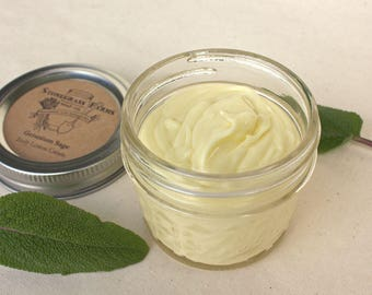 Geranium Sage Body Lotion Cream in 4-oz. Mason Jar