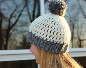 Two-Toned Crochet Hat with Pom Pom