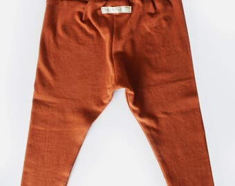 SALE 25%-Baby Leggings, Rust Colored, Burnt Orange, Size 2T, RTS, Ready to Ship