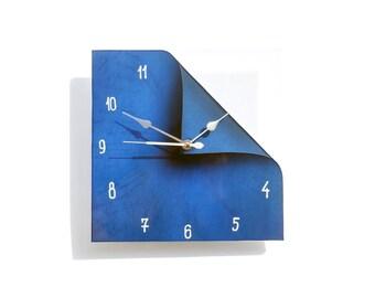 Navy Blue Clock, Minimalist Decor, Blue Home Decor, Designer Home Decor, Housewarming Gift, Home Art, Glass Home Art, Blue Glass Clock