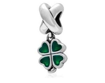 Four Leaf Clover Bead, Irish Charm, Large Hole Bead, European Bead, Clover Charm, Charm Bead, European Charm, Big Hole Bead, Silver, Green