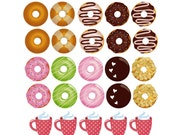 Instant Download Donuts Digital Planner Clip Art/ Stickers Food /PNG and PDF file included/Instant Download/Clip Art (PSOO3)
