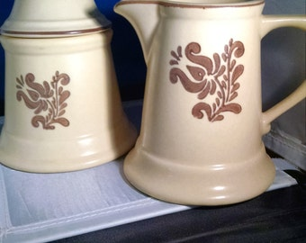 Vintage, Pfaltzgraff, Village Pattern, Creamer and Sugar with Cover