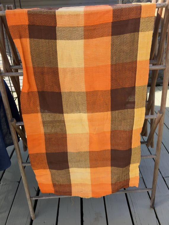 2 50s curtains cutter vintage fabric mid century orange brown pillow fabric from BobbinUpandDown ...