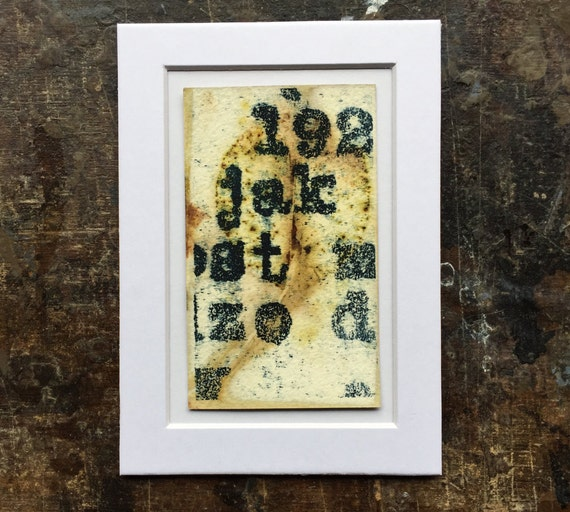 NUMBERS AND LETTERS lithography on ecoprint, printmaking, eco printing, paper, art, original art, typography, artist trading card