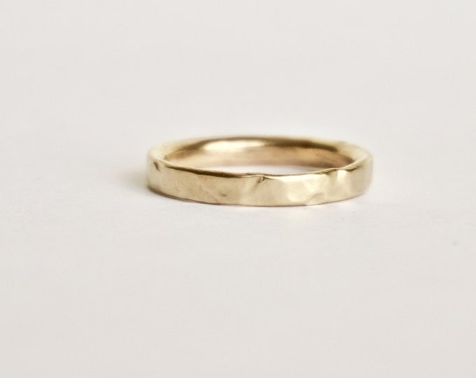 Gold Wedding Band - Organic Shape Ring - Unique Textured Ring  - 9 Carat Yellow Gold Molten Ring - Alternative Wedding - Rustic Wedding Ring
