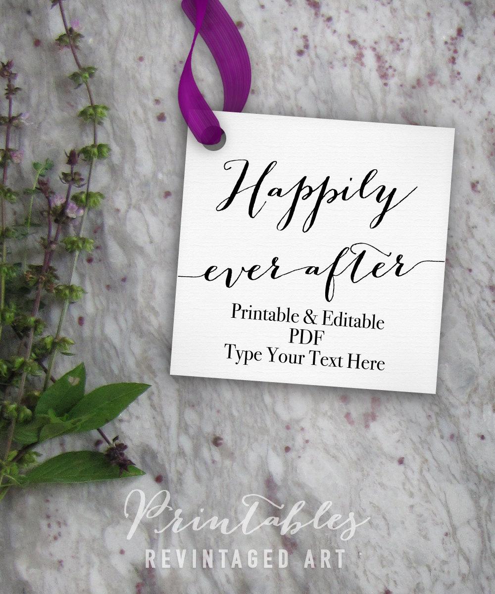 happily ever after tags printable wedding gift tag template diy digital pdf 2 square. Black Bedroom Furniture Sets. Home Design Ideas