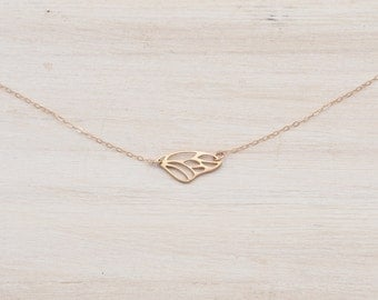 Rose Gold Necklace, Rose Gold Butterfly Necklace, Rose Gold Sideways Necklace, Butterfly Wing Necklace