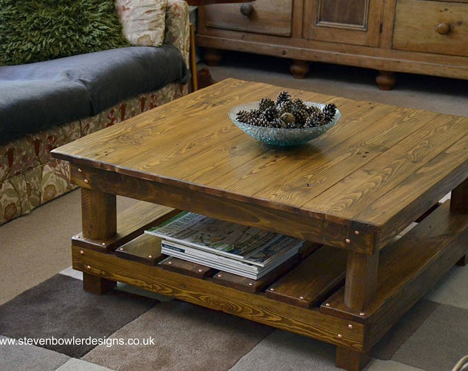 FREE UK SHIPPING Rustic Country Cottage Style Reclaimed Wood Coffee Table Medium Oak Stain with Undershelf Storage & Decorative Copper Tacks
