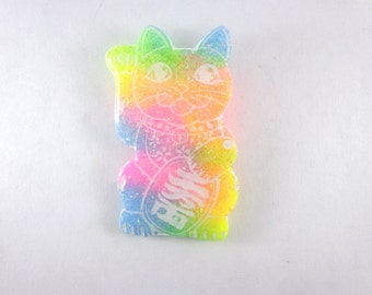 SALE!! Rainbow maneki neko pin brooch