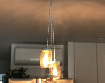 Chandelier, Mason Jar Fixture, Tiffany Color, Upcycled Hanging Light Fixture, Pint Size Jars