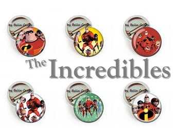 The Incredibles, Buttons, Pins or Magnets, Pinback, Flair, Office, Gift, Favor, Birthday, Shower, Family, Superhero, 25mm Size, Set of 6