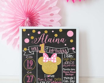 First Birthday Chalkboard Sign, First Birthday Milestone Sign, Minnie Mouse, Pink and Gold, First Birthday Milestone, Minnie, Printable