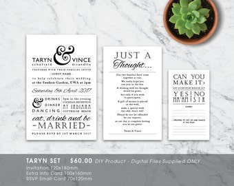 Modern Typo Rustic Printable Wedding Invitation Set - DIY Printable Digital File 'Taryn'