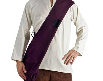 MONK BAG  - Zootzu Renaissance Festival Bag, Sling Bag, Shoulder Bag, Messenger Bag, Reversible with front pockets - Black and Purple